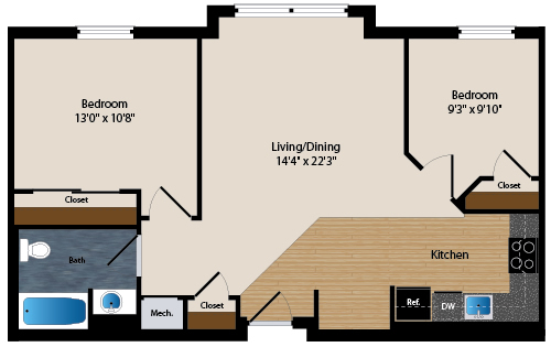 rendering of typical two-bedroom unit
